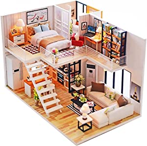Roroom Dollhouse Miniature with Furniture,DIY Wooden Doll House Kit Plus Dust Cover and Music Box,1:24 Scale Creative Room Model to Build-Gift for Friends,Lovers and Families.(Simple Elegance)