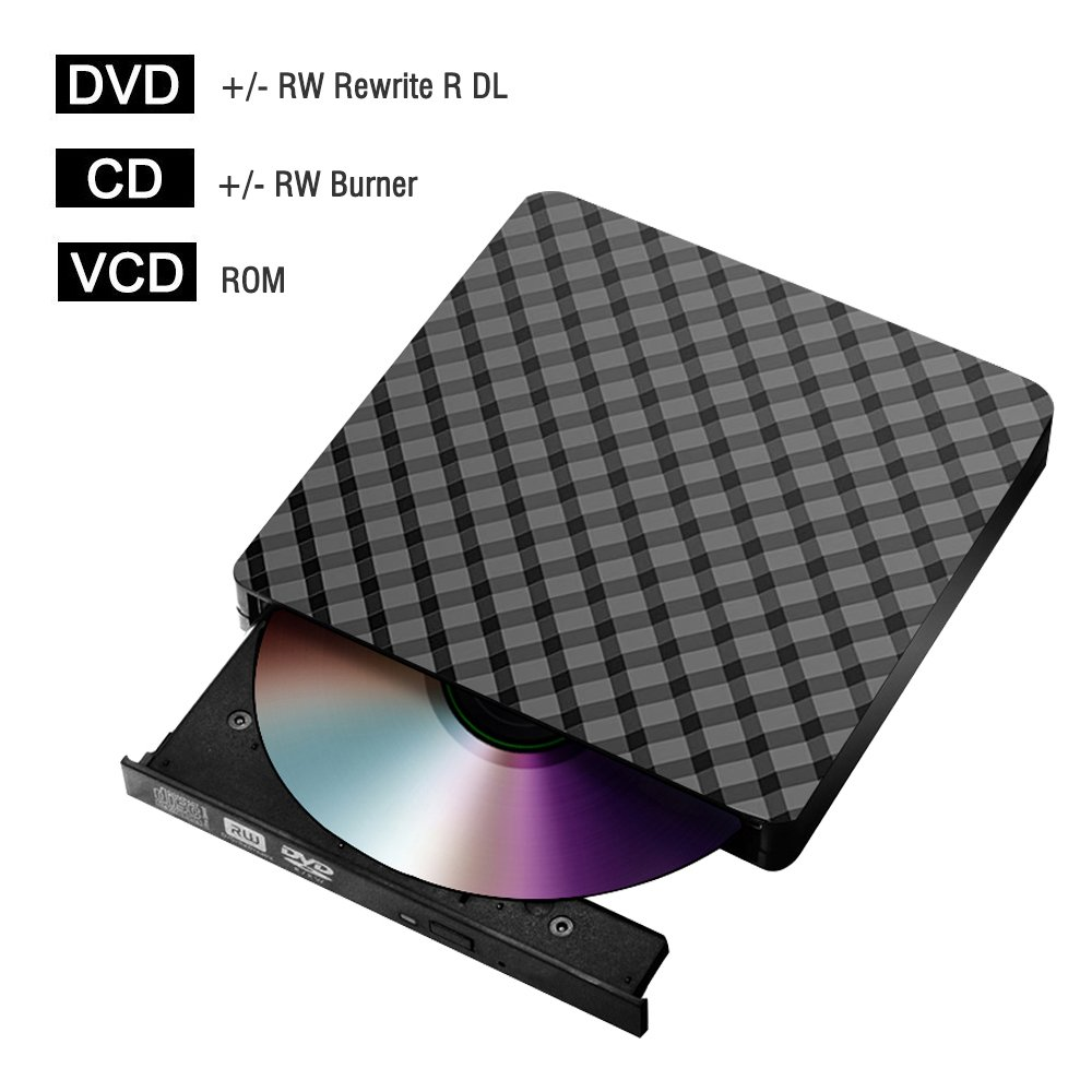 External cd/DVD Drive for Laptop USB 3.0, Portable CD DVD +/-RW Drive Slim DVD/CD ROM Rewriter Burner Writer for Laptop/Macbook/Desktop/MacOS/Windows10/8/7/XP/Vi