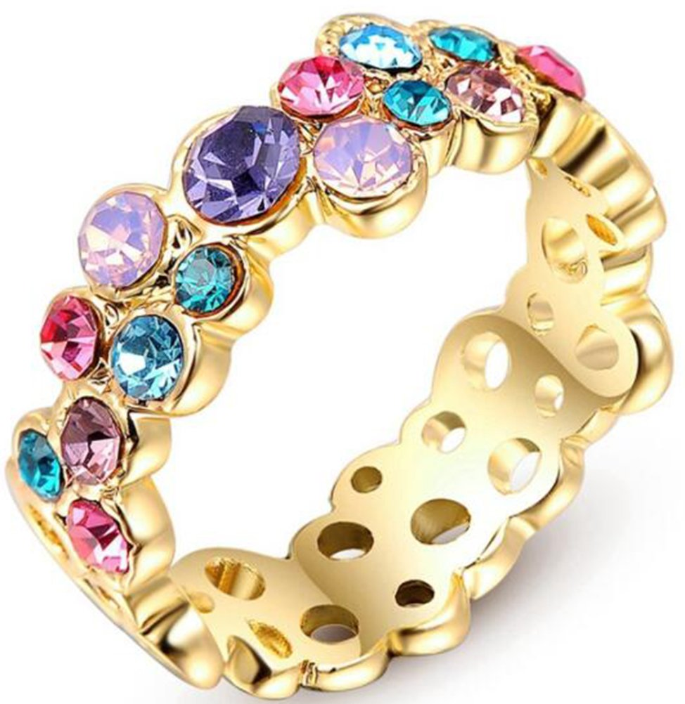 TEMEGO 18k Yellow Gold Multi Color Simulated Gemstone Eternity Band Rings,Size 7