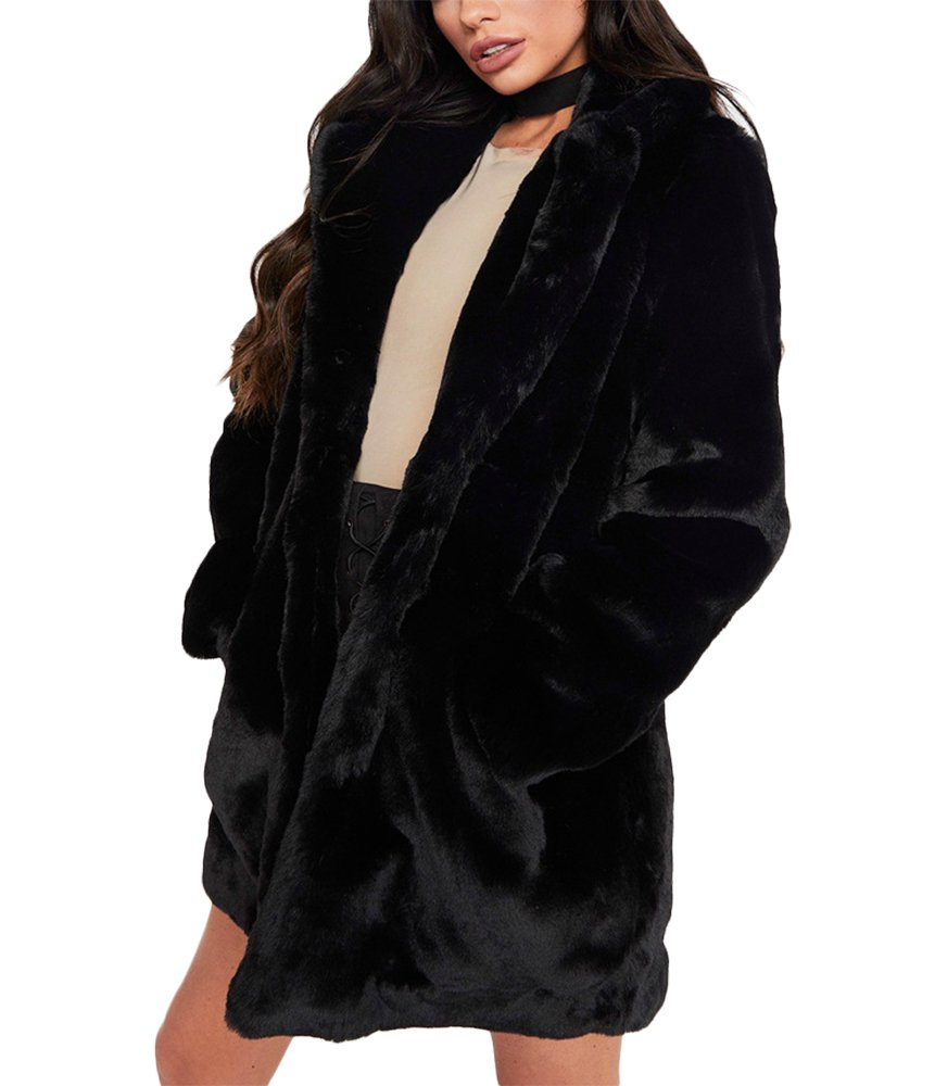 Remelon Womens Long Sleeve Winter Warm Lapel Fox Faux Fur Coat Jacket Overcoat Outwear With Pockets Black XL