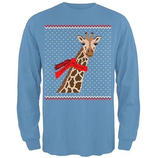 Mens 3x Ugly Christmas Sweater.Animal World Big Giraffe Scarf Ugly Christmas Sweater Mens Long