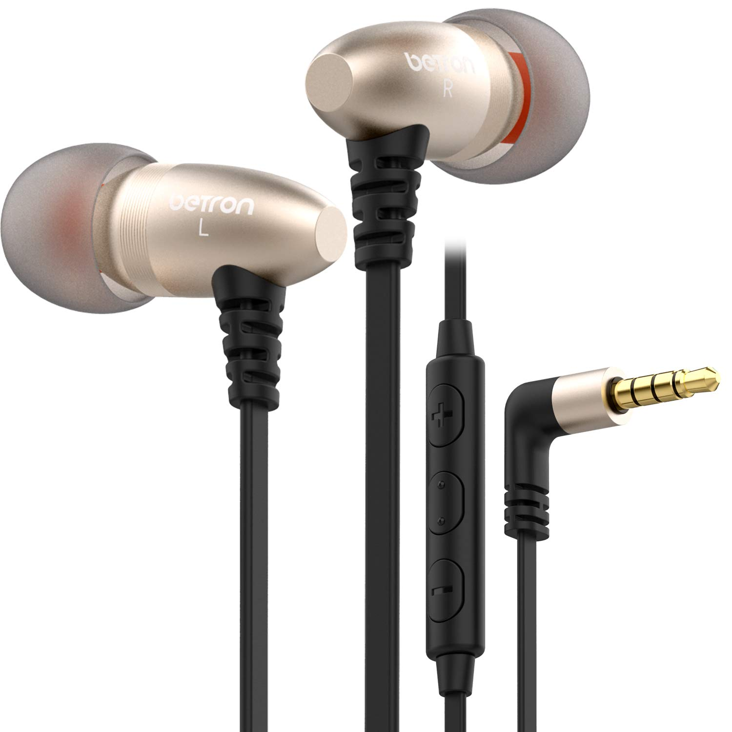 Betron W58 Noise Isolating Headphone, In Ear Earphones With Mic and Volume Control, Balanced Bass Driven Sound, Includes Carry Case and Various Size Earbuds, Gold