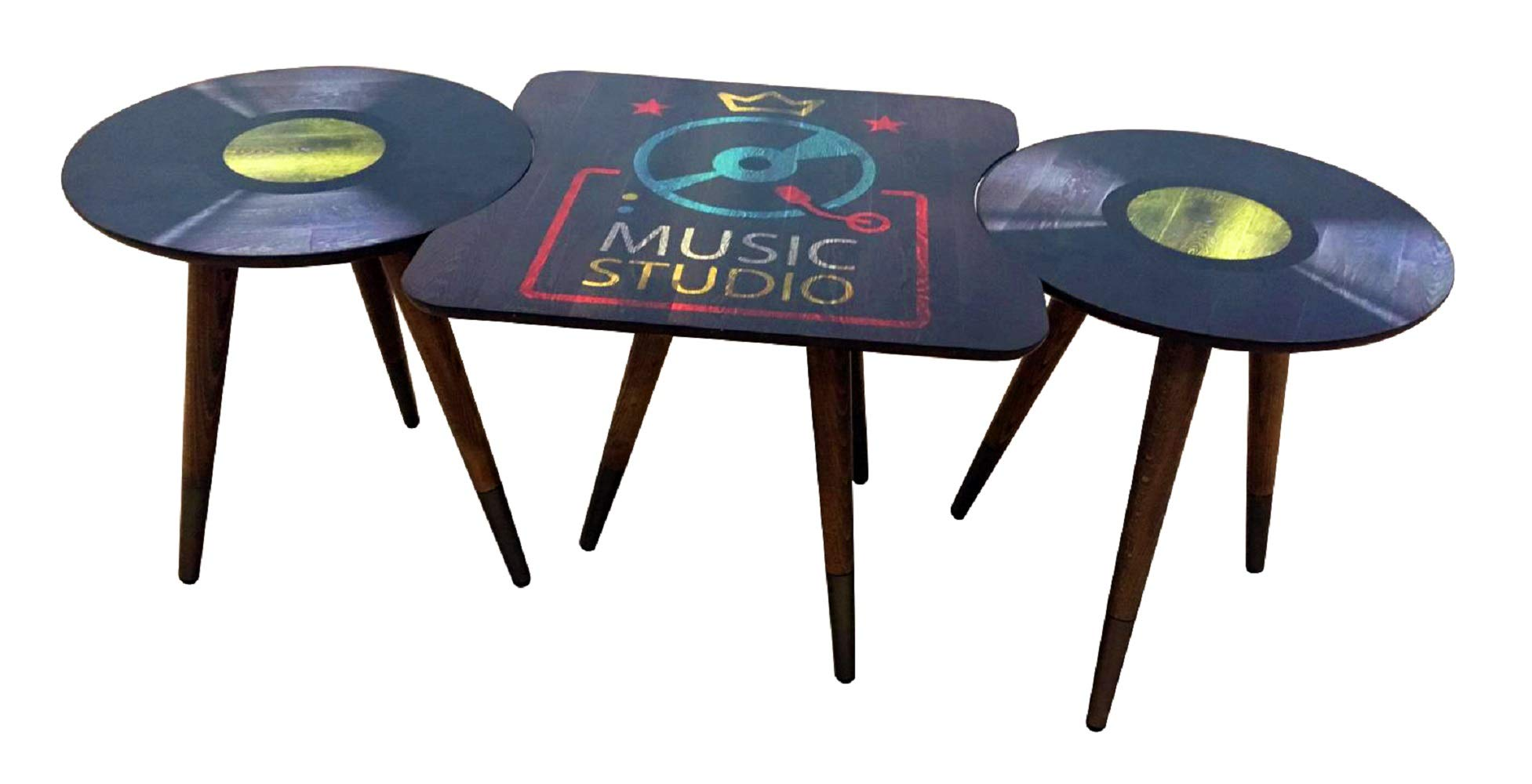 CasaCulina 3 Pieces Print Modern Side End Table Coffee and Cocktail Table,Nesting Table Set with Multiple Color Options (Music) by Casa Culina