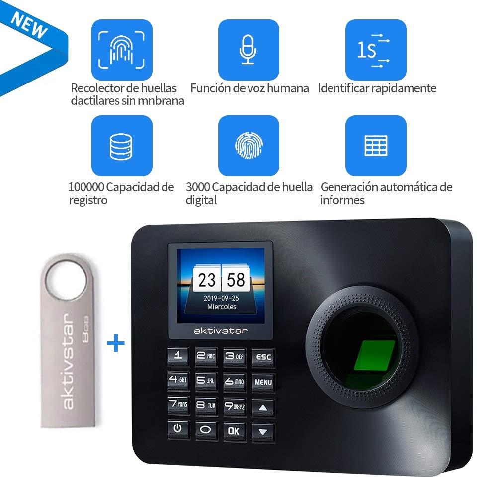 Aktivstar Maquina Asistencia Empleados de Fichar Huella Dactilar con Sistema Española, Pantalla LCD Memoria Flash de 8GB Relojes Relojes para Fichar con Capacidad de 3000 Huellas Dactilares