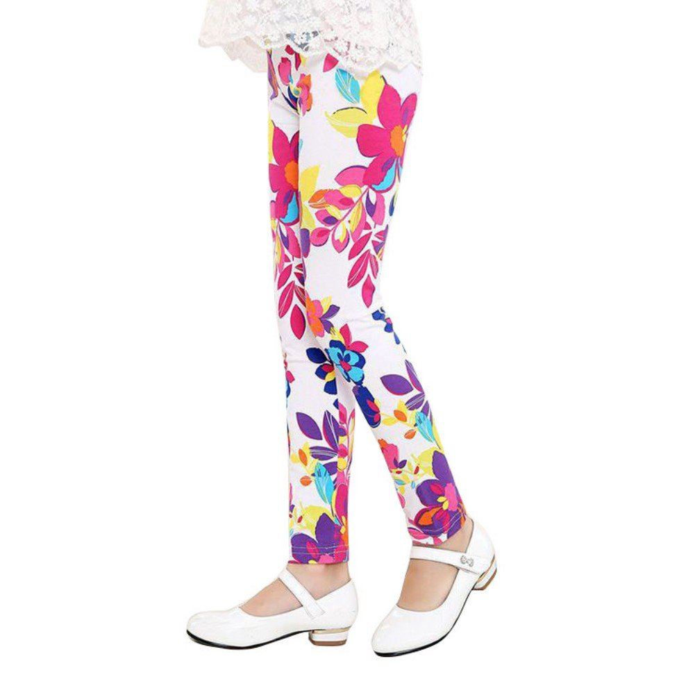 Weixinbuy 2-14 Years Girls Flower Feather Printed Comfy Leggings Pants FBA-7112-0089A-60