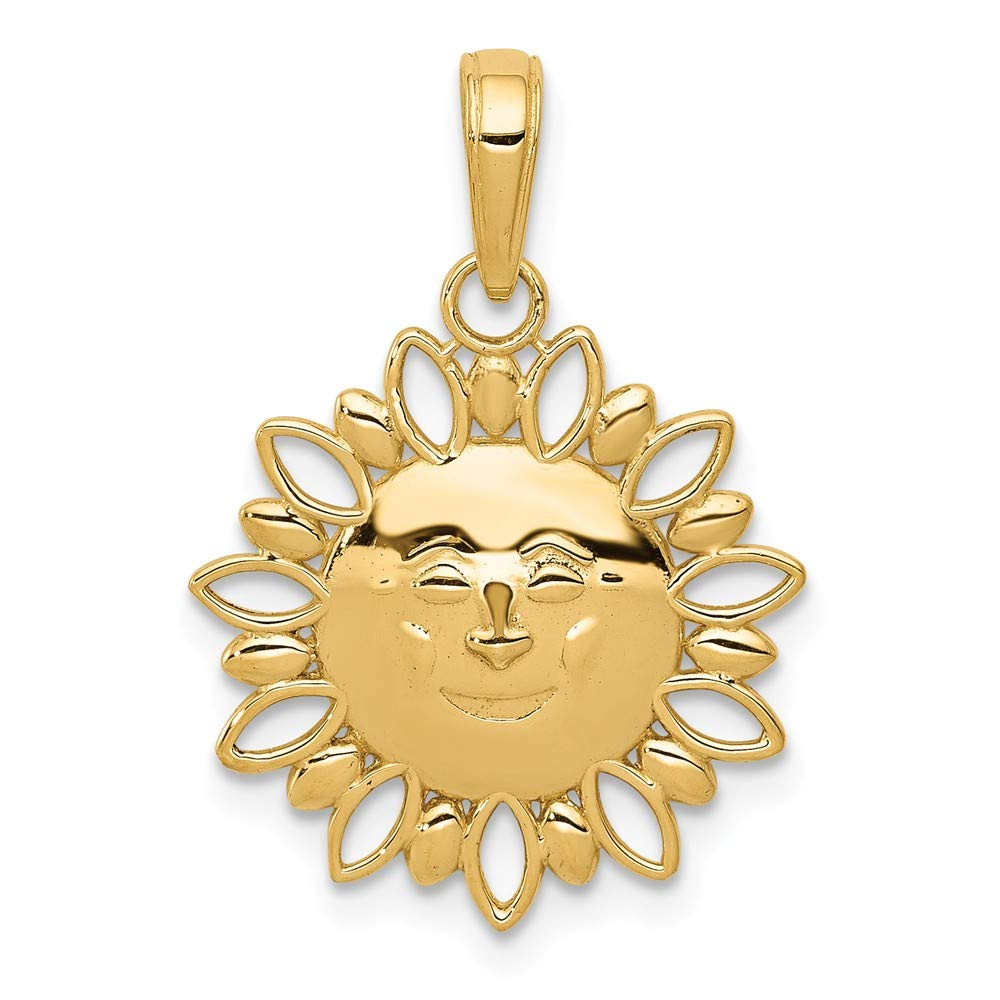 14K Gelb Gold lachende Sonne mit Alternate Ausschnitt Kanten Anhänger Diamond2Deal UK-K5309