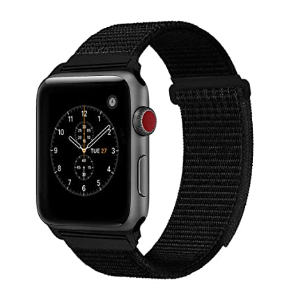 e49cb470b For Apple Watch Band 38mm 42mm Soft Nylon Watch Sport Loop Band Adjustable  Closure Wrist Strap Breathable Woven Nylon Replacement Strap for Apple Watch  ...