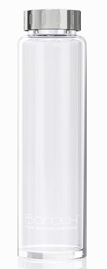 Amazon.com: Boroux - Botella de agua de cristal reutilizable ...