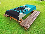 Lunarable Dirt Bike Outdoor Tablecloth, Biker on a Mountain with Helmet Extreme Biking Sports Silhouette Design, Decorative Washable Picnic Table Cloth, 58 X 84 inches, Black Blue and Ivory