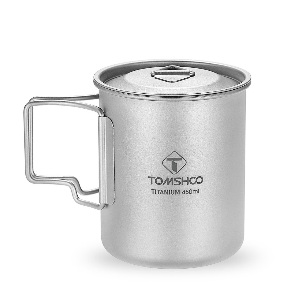 TOMSHOO Titanium Pot 450ml Portable Water Mug Cup with Lid and Foldable Handle for Outdoor Camping Picnic Cooking by TOMSHOO