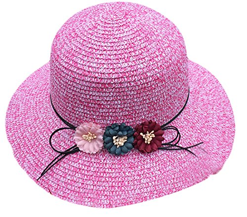 WSPLYSPJY Womens Flax Bow Wide Large Brim Summer Beach Sun Hat 1 OS