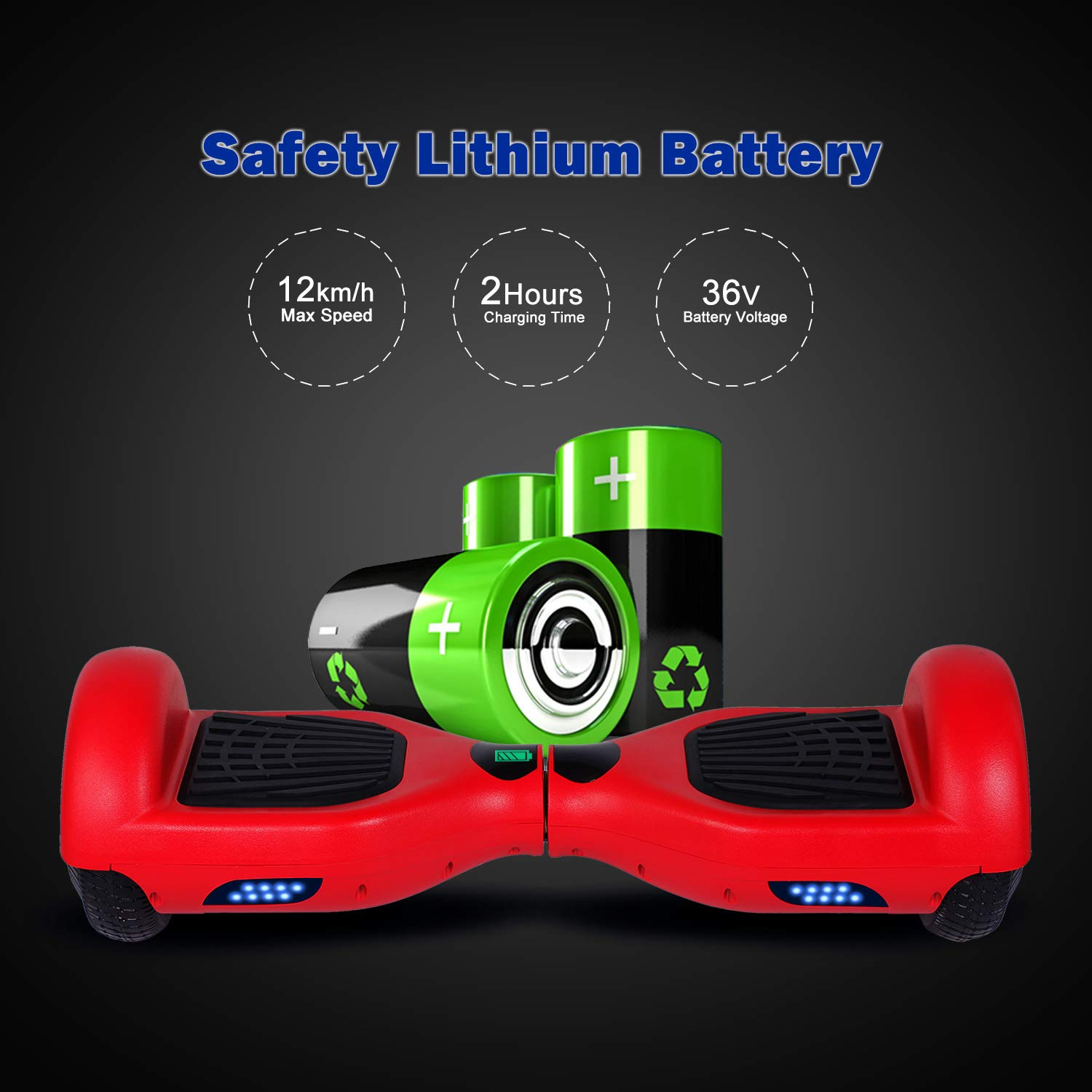 SISIGAD Hoverboard Self Balancing Scooter 6.5'' Two-Wheel Self Balancing Hoverboard with LED Lights Electric Scooter for Adult Kids Gift UL 2272 Certified - Red by SISIGAD (Image #3)