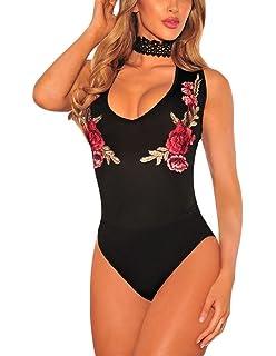 FreestyleMo Femmes Choker Bodys Tops Combinaison Sans manches Rose Bodysuit  Jumpsuit cf85bff2b8f