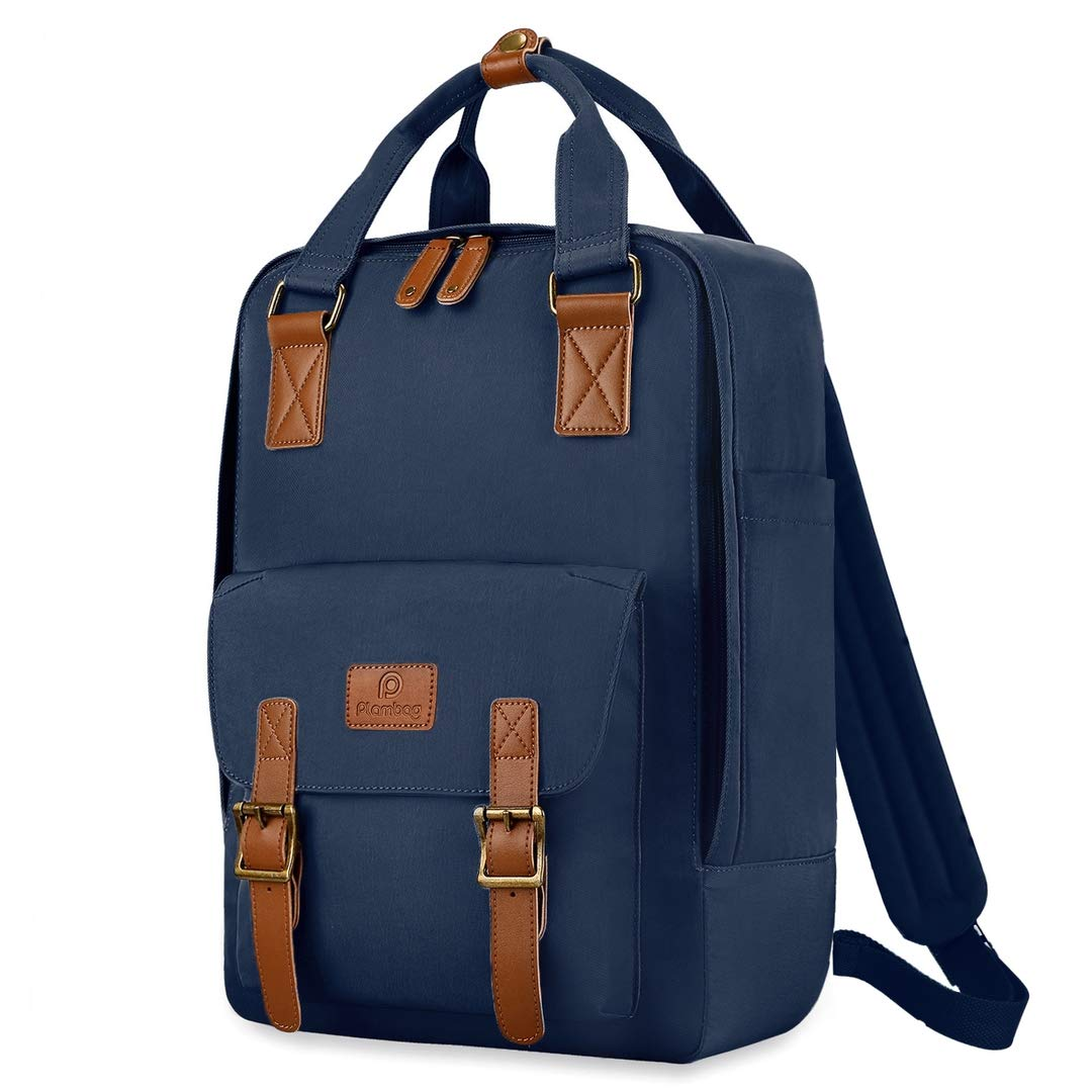 Plambag 15.6 Laptop Travel Backpack, Water-repellent Casual Rucksack Daypack Navy Blue