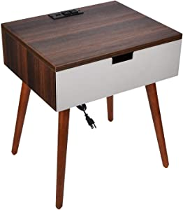 Frylr Nightstand Bedside Table with Charging Station and USB Port, Modern PU Leather Drawer End Table for Bedroom Living Room 18.8''x15.7''x21.5''-Walnut and Grey