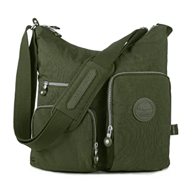 9627c64fad Oakarbo Nylon Multi-Pocket Crossbody Bag (1203 Army green Medium)