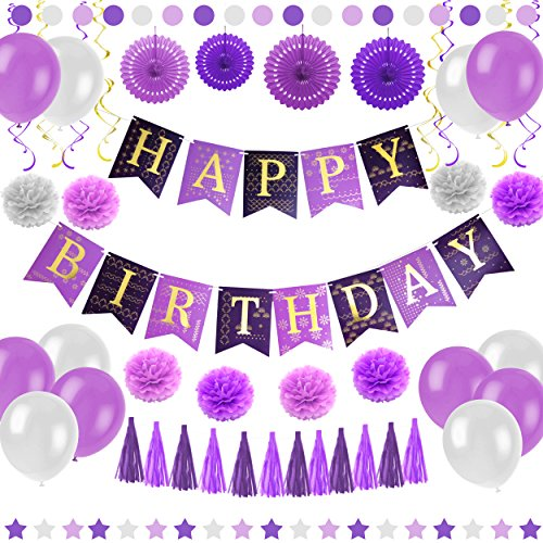Purple Happy Birthday Party Decorations - Supplies Set for Adult Women & Men - Boy & Girl Kids - Includes Hanging Wall Bunting Flag Banner with Gold Letters, Pom Poms, Paper Fans, Garlands, Baloons -
