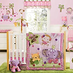 Blossom Tails Monkey 4 Piece Baby Crib Bedding Set by Kidsline for girls