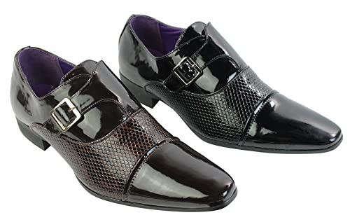 Hombres italian patent shiny leather snake shoes slip on buckle brown black smart 1jQeqH