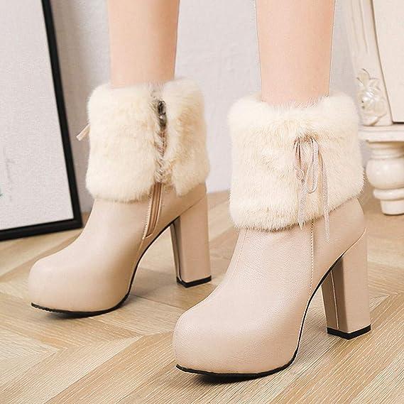 ❤ Botas de Invierno Mujer de Peluche de tacón Alto, Mujeres de Felpa Correas de Tubo Medio Cuero Botas de Cremallera Zapatos de Tacones Altos Absolute: ...