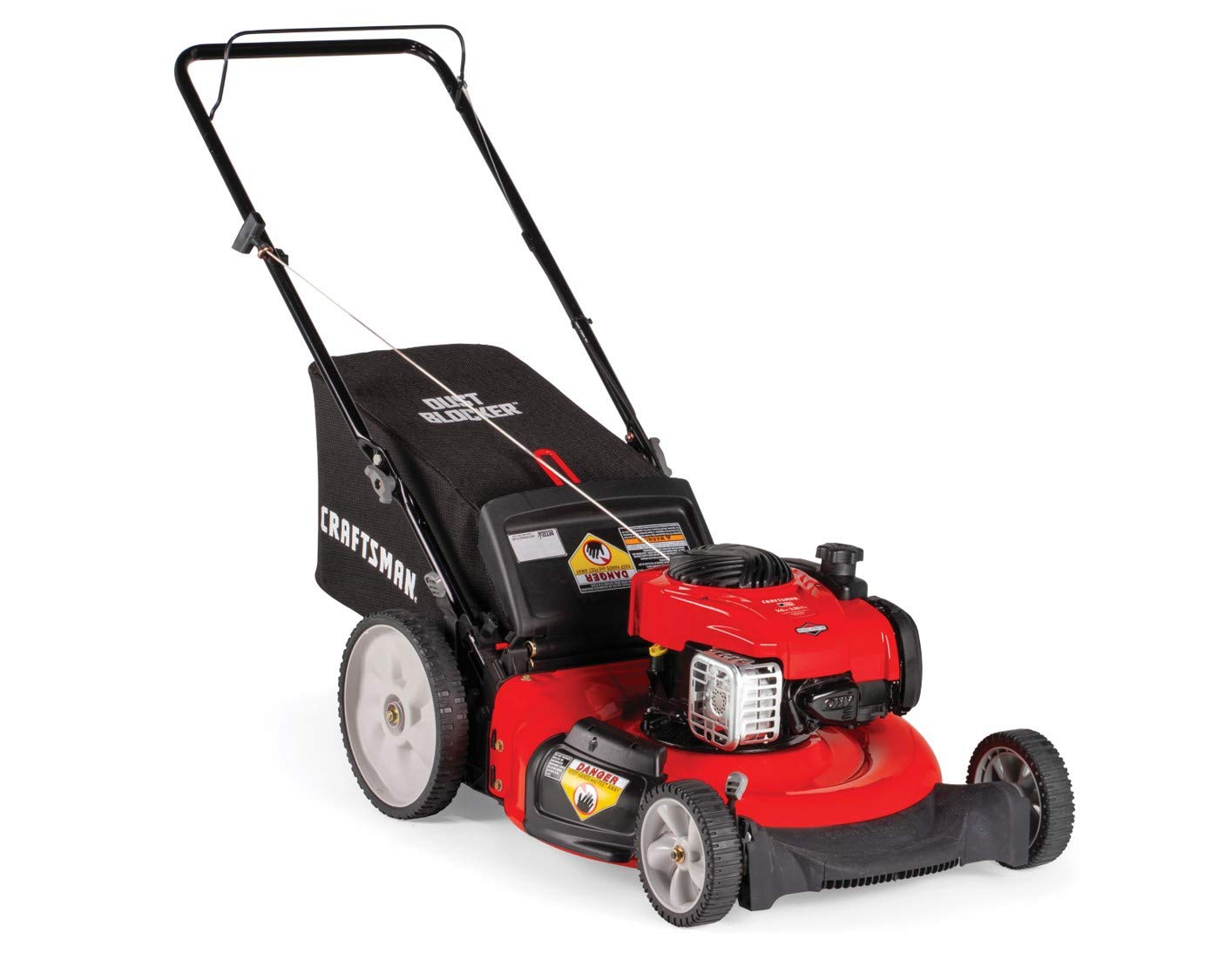 Craftsman M115 11A-B25W791 Push Lawn Mower, Red 2 140CC OHV GAS POWERED ENGINE: Powerful Briggs and Stratton 550E gas engine comes equipped with recoil and primer. 3-IN-1 CAPABILITIES: Unit has side discharge, rear discharge, and mulching capabilities. 21-INCH CUTTING DECK: Efficient cutting deck helps trim grass in one quick pass for an easier yard job.