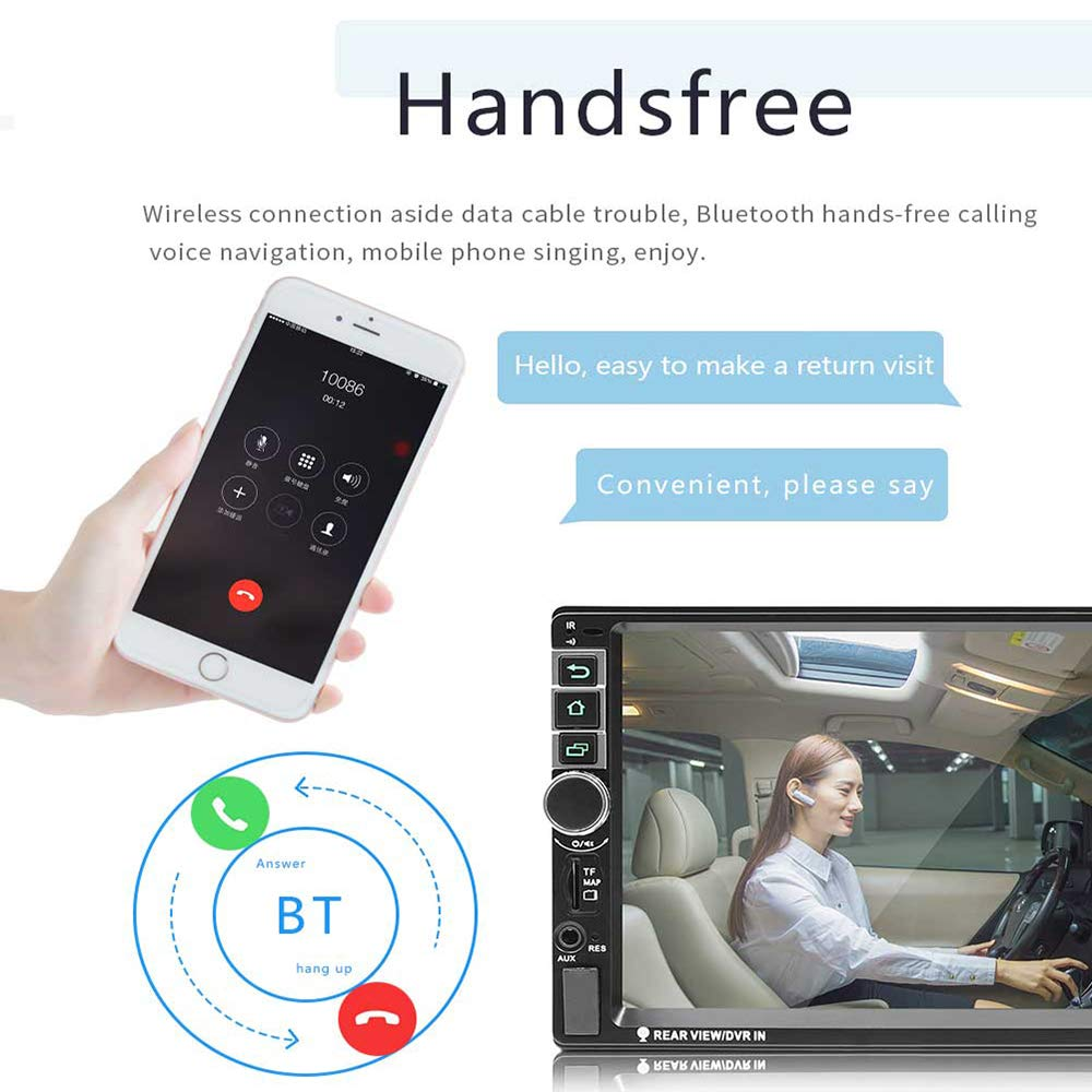Hikity Double Din Android 8802 Car Navigation Stereo 7 MP5 Touch Screen Bluetooth USB FM Auto Radio Mobile Phone Mirror Link 4 LED Backup Camera