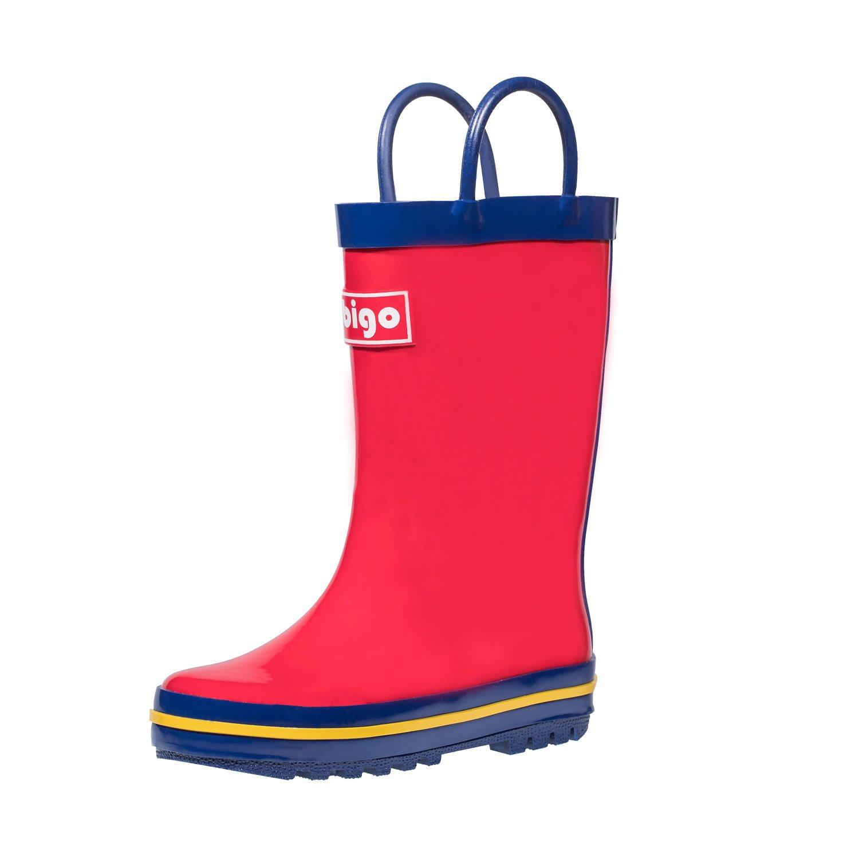 hibigo Children's Natural Rubber Rain Boots with Handles Easy for Little Kids & Toddler Boys Girls, Red Mix Blue