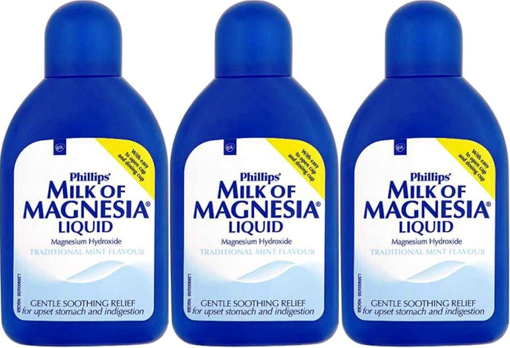 THREE PACKS of Phillips Milk Of Magnesia Liquid Traditional Mint Flavour 200ml by MILK OF MAGNESIA: Amazon.es: Salud y cuidado personal