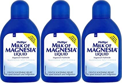 THREE PACKS of Phillips Milk Of Magnesia Liquid Traditional Mint Flavour 200ml by MILK OF MAGNESIA