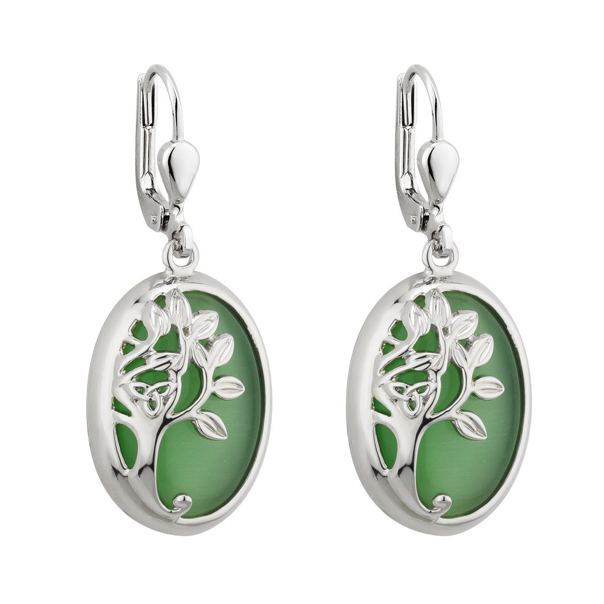 Tree of Life Drop Earrings Rhodium Green Irish Made