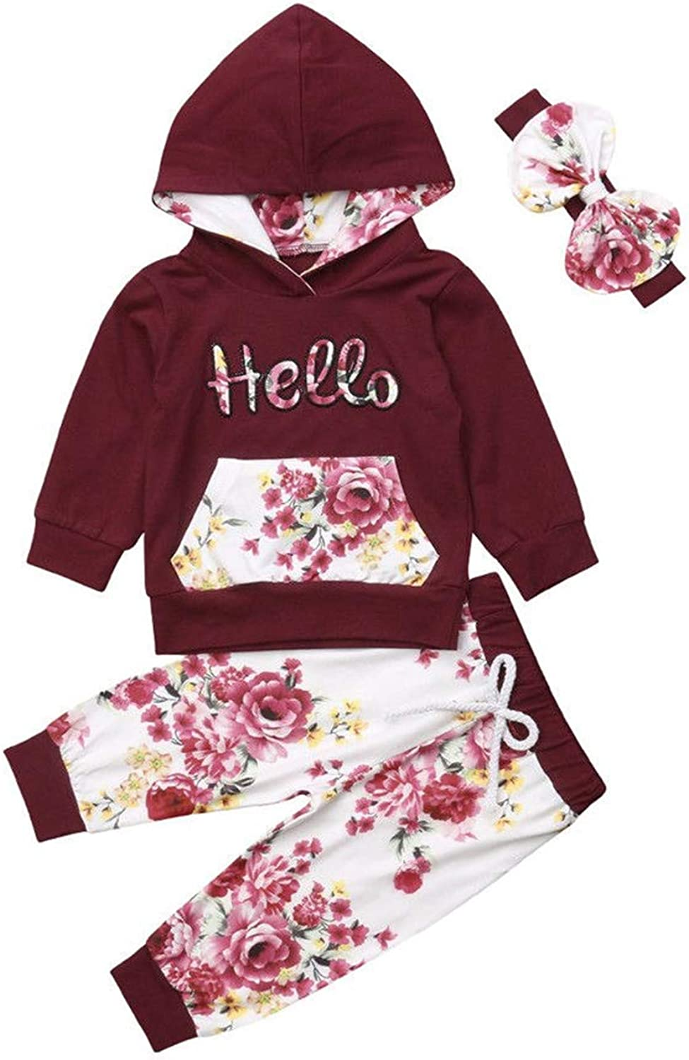 New Born Girls Clothing Set Long Sleeve Hoodie and Pants 3 pcs Outfit Cotton
