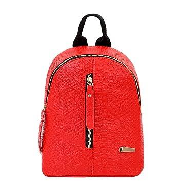 Mochilas de cuero para mujer Bolsas de escuela para adolescentes Bolsa de viaje Bolsa de hombro LMMVP (24cm*20cm*10cm, Rojo): Amazon.es: Hogar