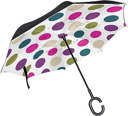 Orediy Parapluie invers/é Double Couche Peinture /à lhuile Parapluie invers/é Parapluie invers/é Grande Taille Anti-UV Coupe-Vent Pluie Soleil Voyage