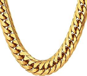 Prendas de Hombre Cadenas Cubana Cadena De Titanium Chapada En Oro Cadena Cubana Para Hombre con
