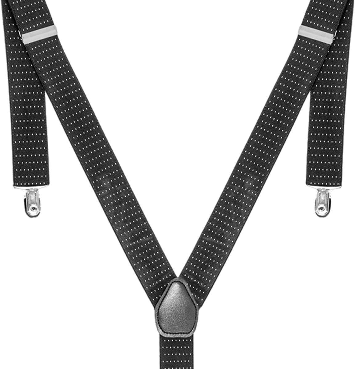 Adjustable Braces Men Women Unisex Elastic Y-Navy Dot Suspenders Button Hole
