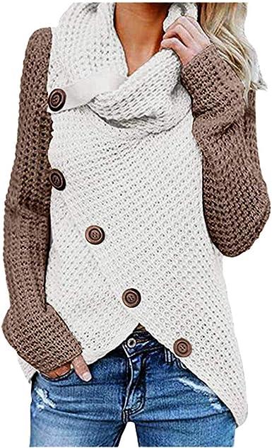 ALISIAM Camiseta Mujer Sudadera Otoño Invierno Jersey de Cuello Alto Botón Patchwork Outwear Ropa de Manga Larga Blusa Suelta de Moda Tops de ...