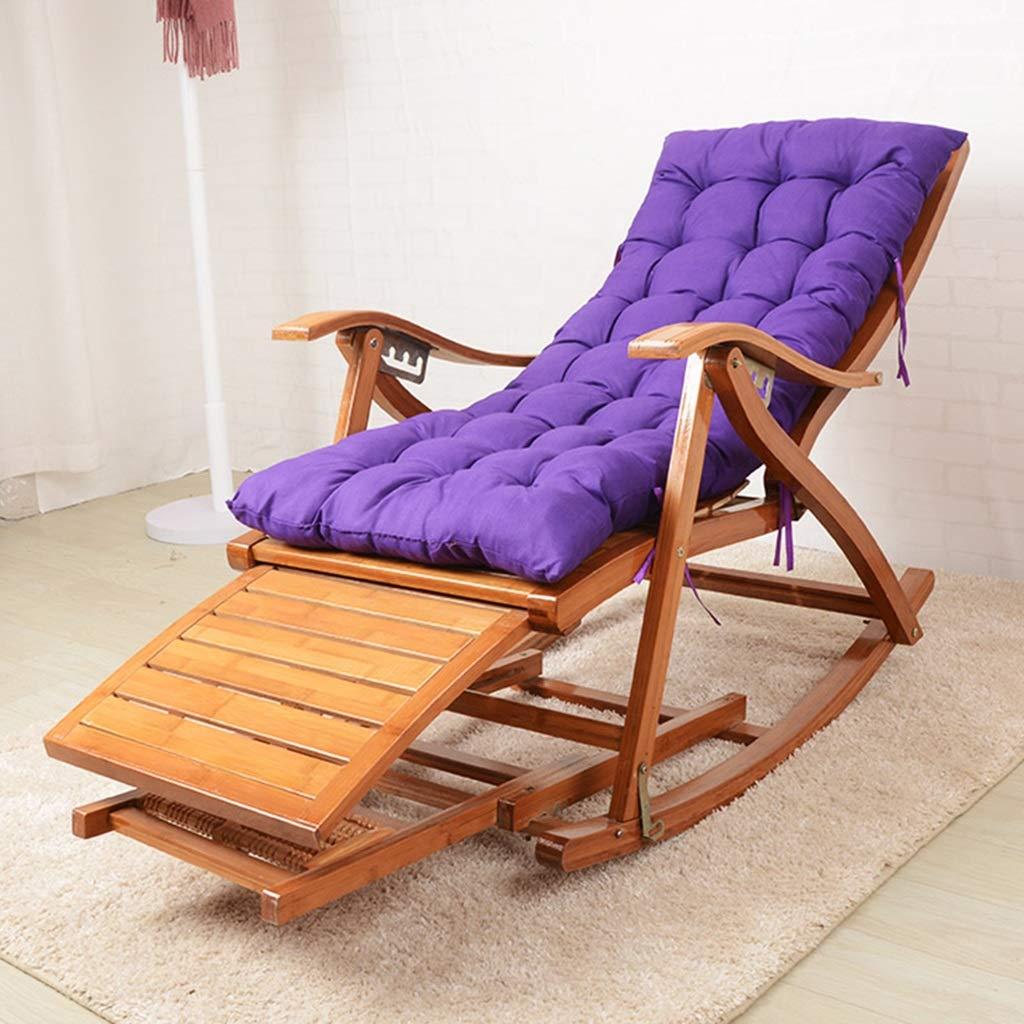 XEWNEG Klappbarer Bambus-Schaukelstuhl Verstellbarer Liegestuhl F/ür Die Mittagspause Im B/üro Liegestuhl Auf Der Au/ßenterrasse Am Strand Color : Wood Color Fauler Stuhl