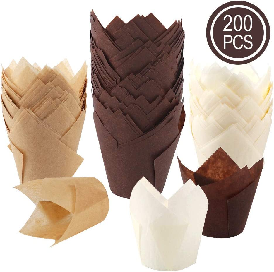 BAKHUK 200pcs Tulip Cupcake Baking Cups, Muffin Baking Liners Holders, Rustic Cupcake Wrapper, Brown, White and Nature Color
