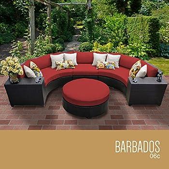 TK Classics 6 Piece Barbados Outdoor Wicker Patio Furniture Set, Terracotta  06c