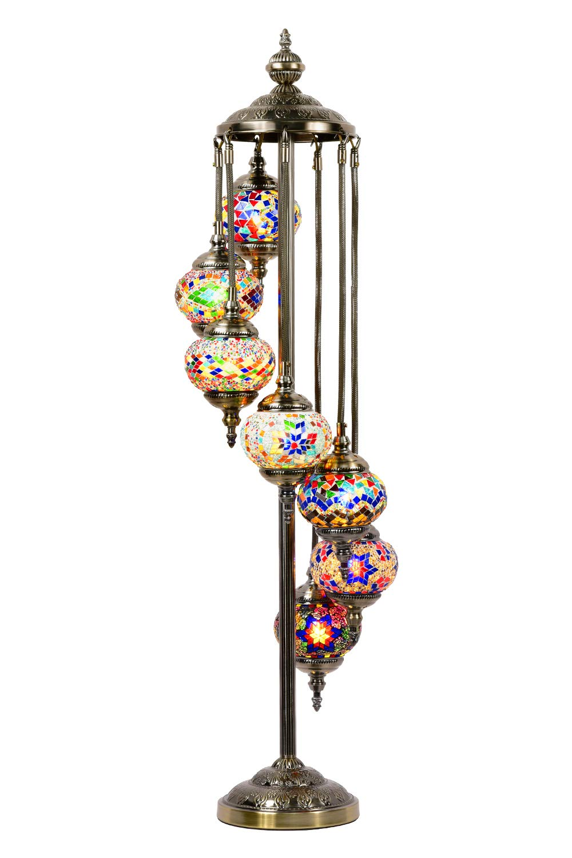 Mosaic Floor Lamp Marrakech Handmade Turkish 7 Globes Mosaic Glass Floor Lamp Moroccan Tiffany Style Lamp Decorative Night Light for Living Room Bedroom (Multi-Colored)