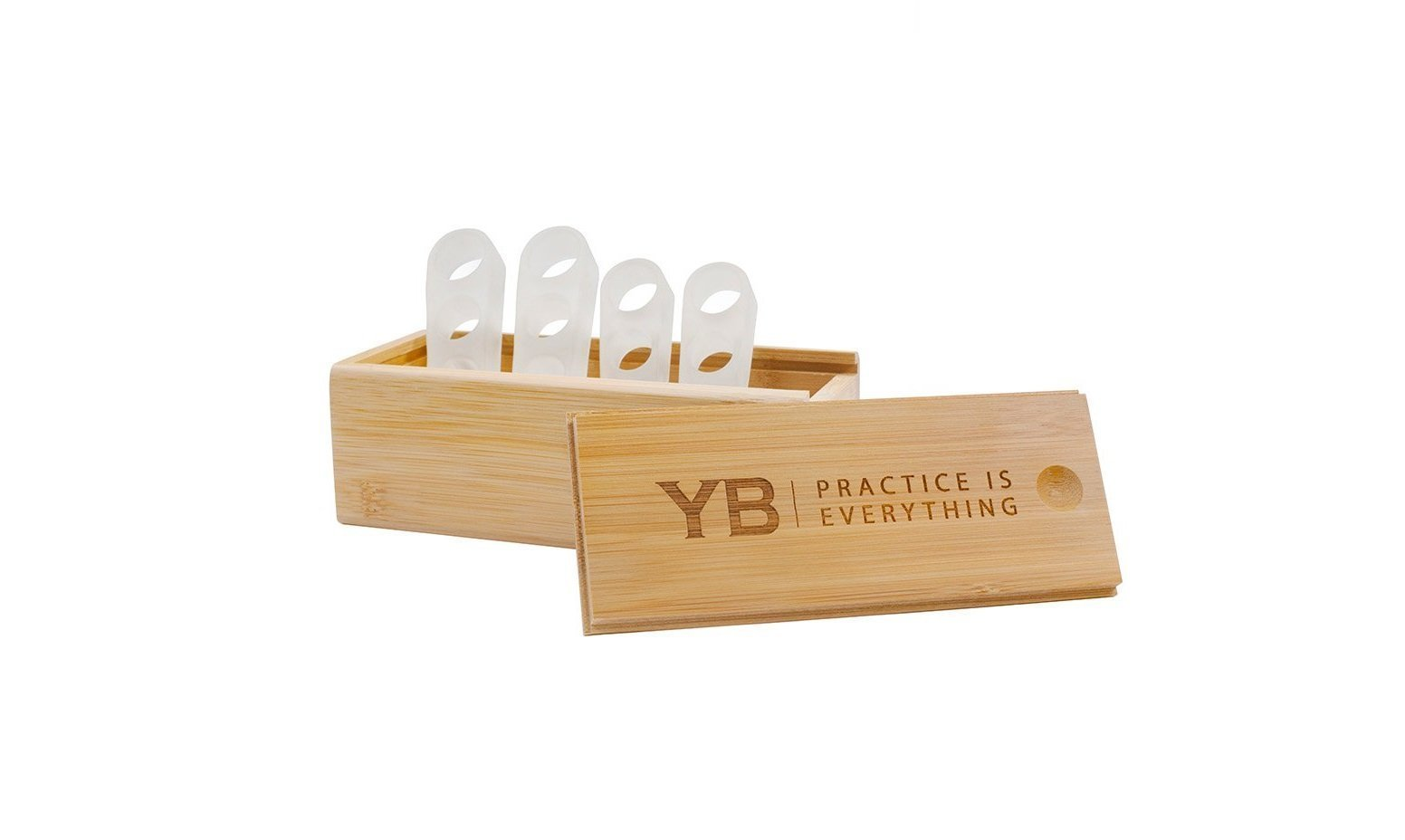 YOGABODY Naturals Toe Spreaders & Separators Two Pairs in Stylish Wooden Box, Awesome Toes, Latex-Free Rubber Toe Stretchers Used for Nighttime, Yoga Practice & Running