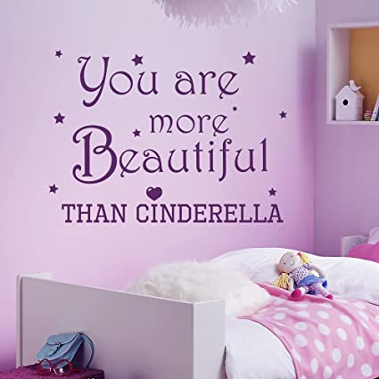 Wall Decals Quotes Cinderella You Are More Beautiful Quote Vinyl Sticker  Nursery Room Bedroom Decal Baby
