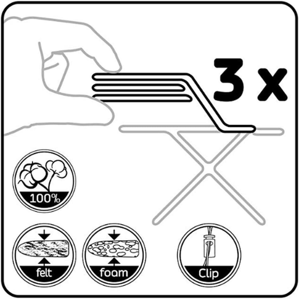 Extra Gro/ß XXL mit 4 Clips B/ügelbrett Bezug 155 x 60 cm ViviJane B/ügelbrettbezug f/ür Alle Gr/ö/ßen B/ügelbrett