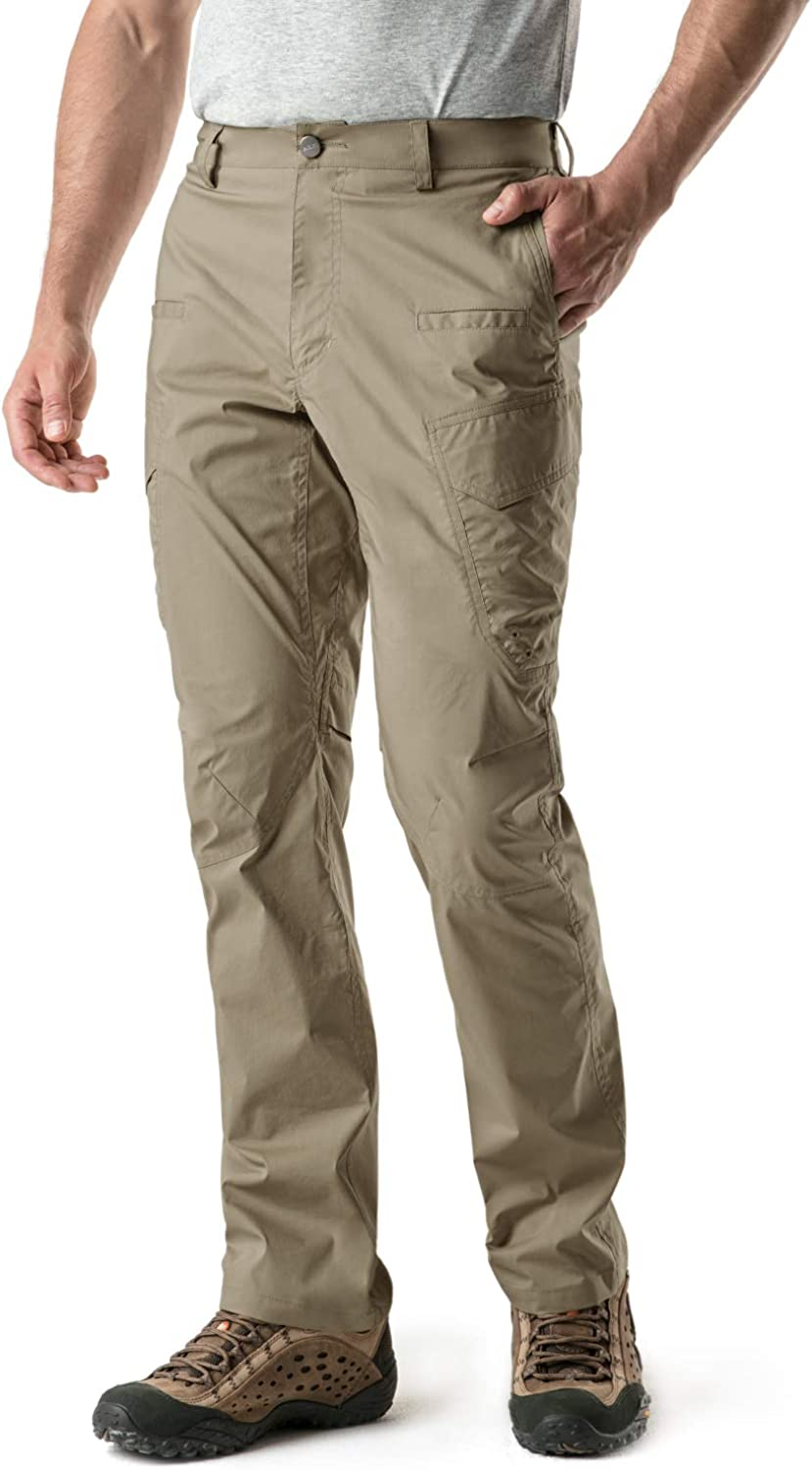 CQR Men's Hiking Pants, Water Repellent Outdoor Pants, Lightweight Stretch Cargo/Straight Work Pants, UPF 50+ Outdoor Apparel