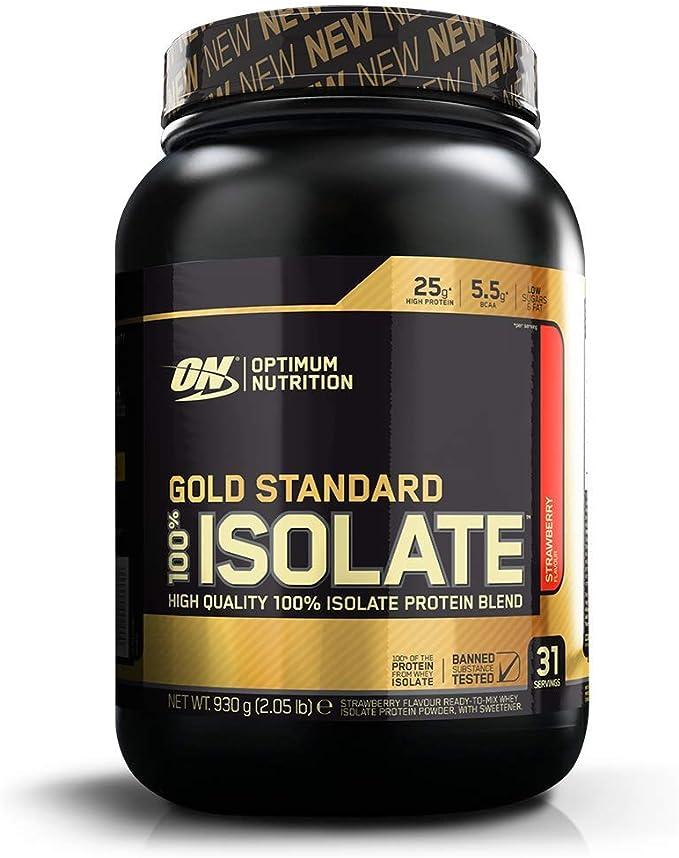 Optimum Nutrition 100% Gold Standard Isolate, Proteina Whey Isolate en Polvo para Aumentar Masa Muscular, Proteina Isolada, Fresa, 31 Porciones, 930 g