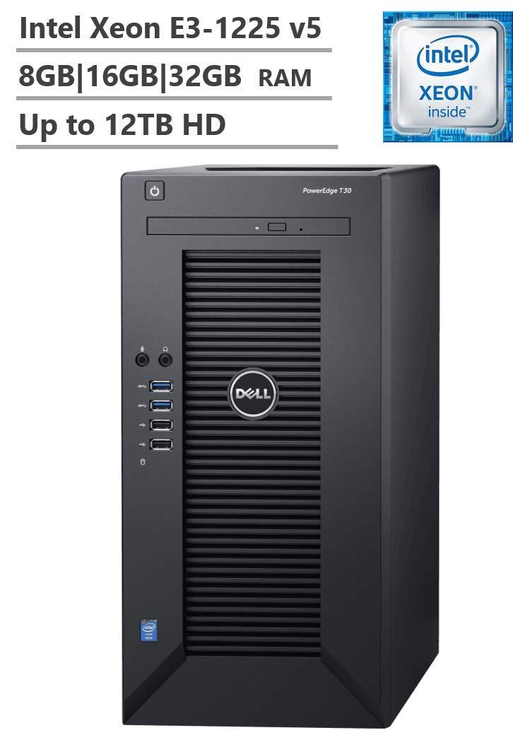 Dell PowerEdge T30 Mini Tower Server, Intel Xeon E3-1225 v5 up to 3.70GHz, 8GB|16GB|32GB DDR4 ECC UDIMM Memory, Up to 12TB 7200RPM SATA 6Gbps Hard Drive, No Operation System, Black