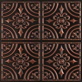 Wrought Iron-Faux Tin Ceiling Tile - Antique Copper 25-Pack