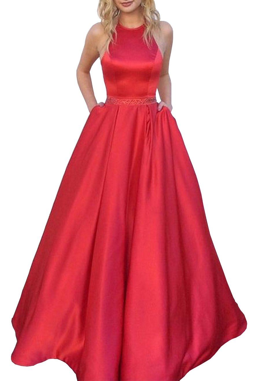 5dea3545cdb Women s Halter A-line Beaded Satin Evening Prom Dress Long Formal Gown with  Pockets Size 16 Red