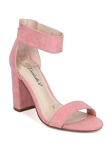 0b5ac5282b58 Women Faux Suede Open Toe Ankle Strap Block Heel Sandal GH01 - Pink (Size