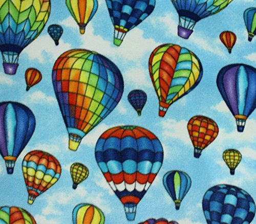 - Fleece Fabric Printed Anti Pill HOT AIR Balloons Sky Blue Background Licensed